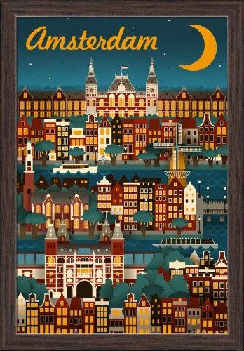 Amsterdam - Retro Skyline - Lantern Press Artwork (16x24 Giclee Art Print, Gallery Framed, Espresso Wood), Multi