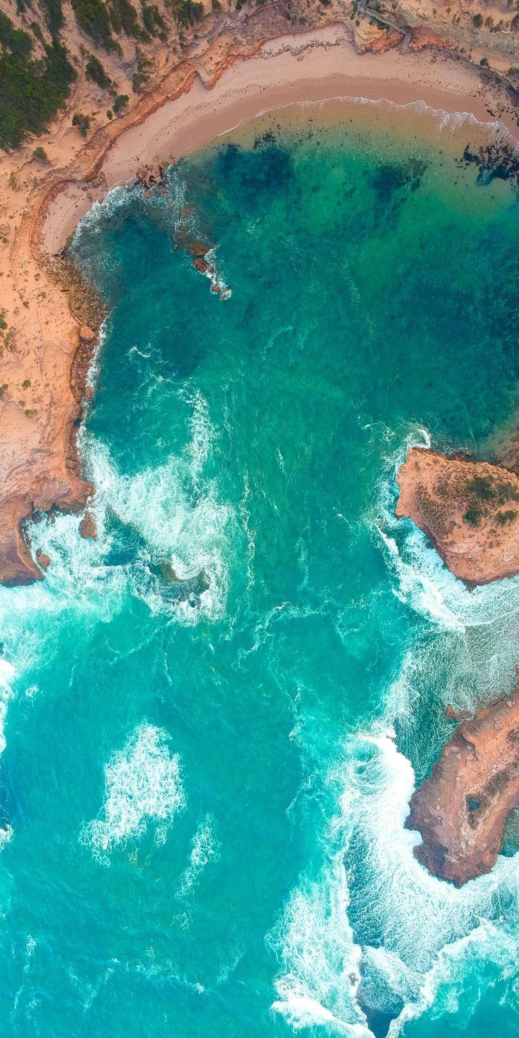 Sea, aerial view, coast, surf, 1080x2160 wallpaper
