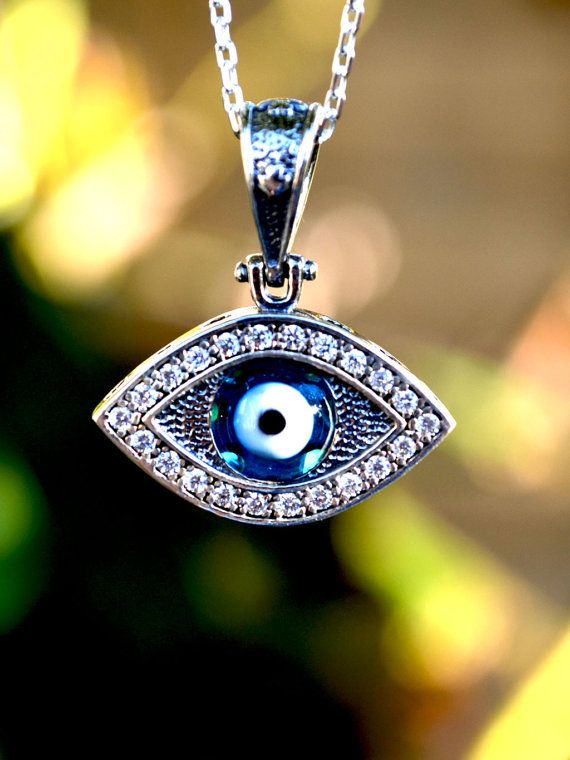 925 Sterling Silver Evil Eye Necklace with chain by Delmasi