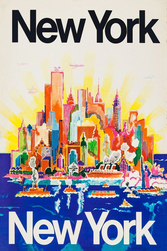 Reprint of a Vintage Travel Poster to New York