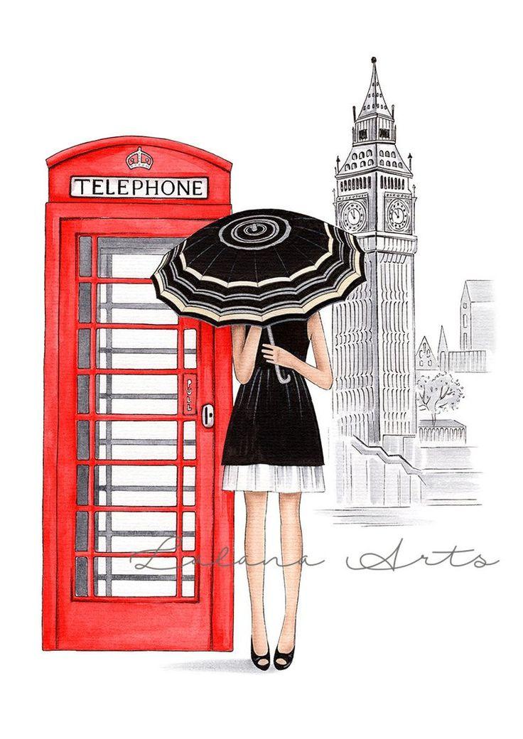 London imprimé London art poster Londres illustration de mode | Etsy