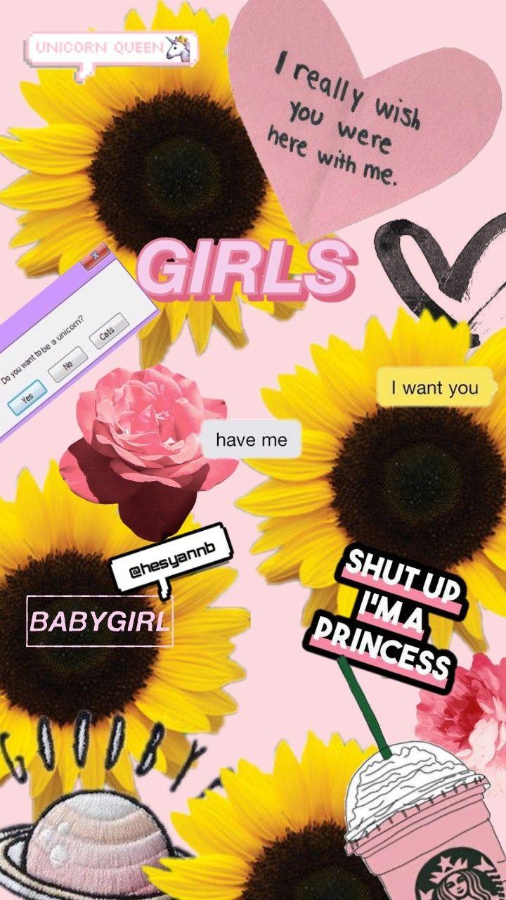 #background #wallpapers #wallpaper #tumblr#pink#girls#unicorn#sunflower