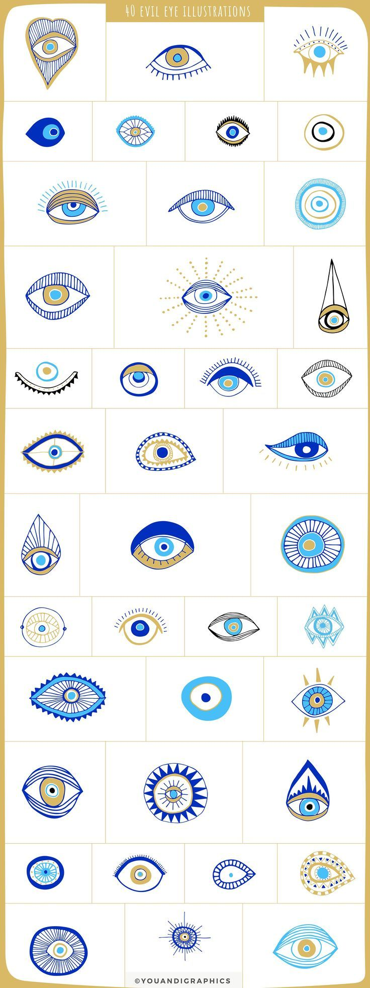 Evil Eye Illustrations + Patterns by Youandigraphics on Creative Market