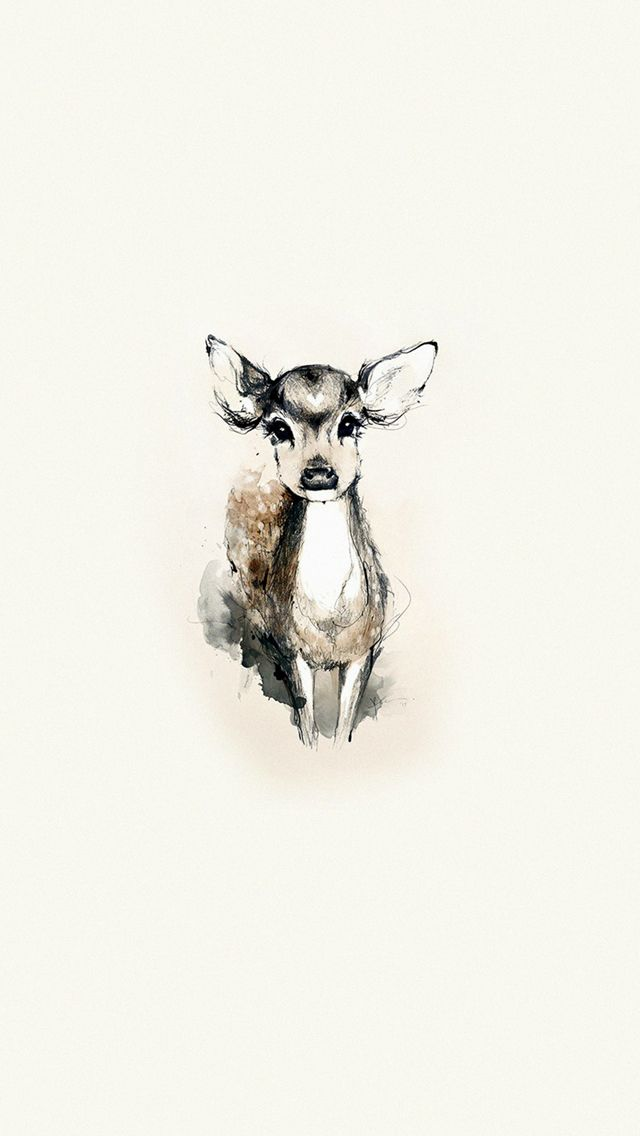 Tiny Cute Deer Illustration ★ Find more Autumn & other seasonal wallpapers for your #iPhone + #Android iPhone Wallpapers