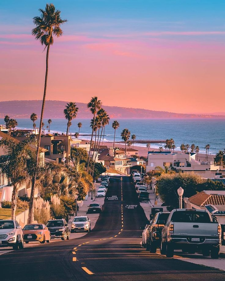 Longboarder view of the beach from the street at the top of a hill. Beautiful palm trees and purple skies. #Relaxing #LA #vibes