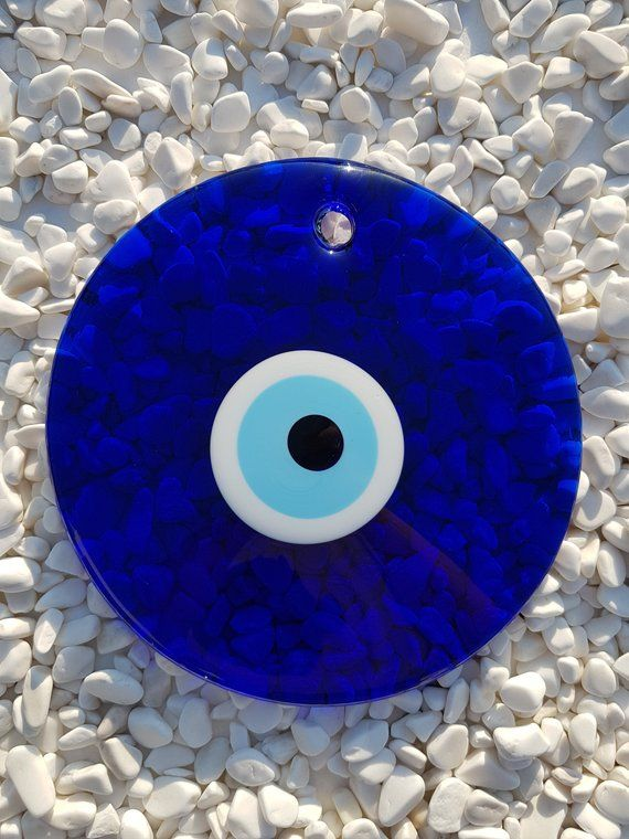 Big Blue Evil Eye 21 cm 8.3 inches Wall Hanging Nazar | Etsy #evileye #homedecor #wallhangings #homemade #beads
