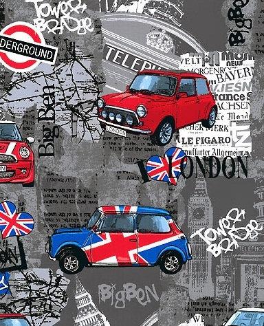 Mini Cooper Madness - Charcoal Grey - London Bridge - Benartex Fabric - Novelty Fabric. $8.25, via Etsy.