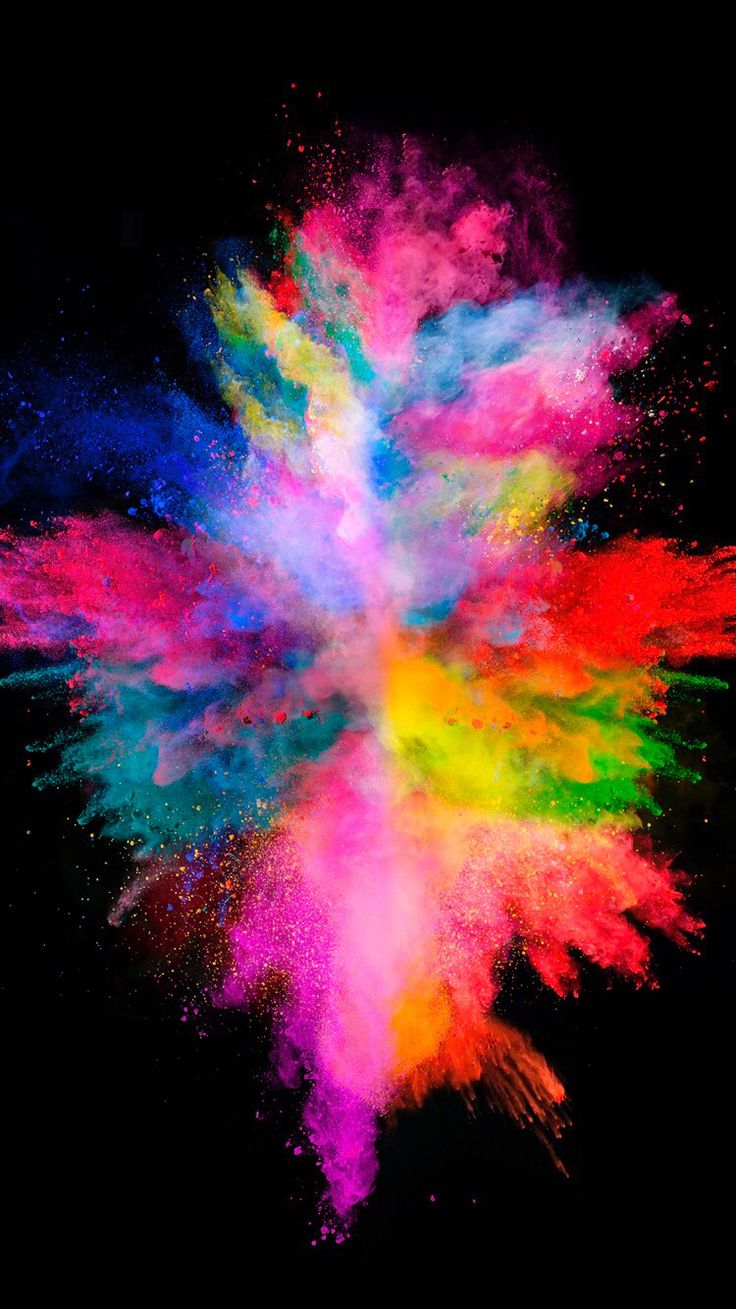 Colorful explosion on the black background for your iPhone XR from Everpix