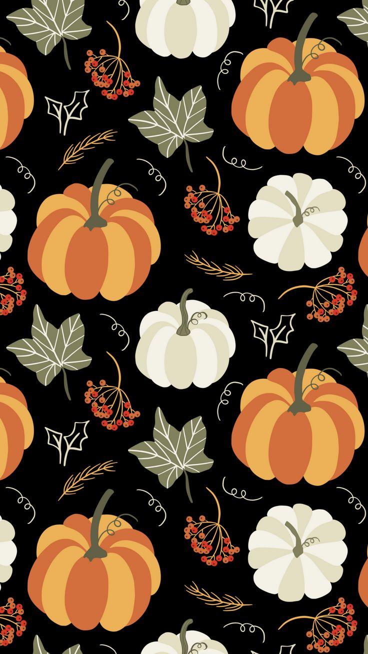 halloweenien 🎃 illustration print pattern citrouille kürbis pumpkin et feuilles mortes automne fall