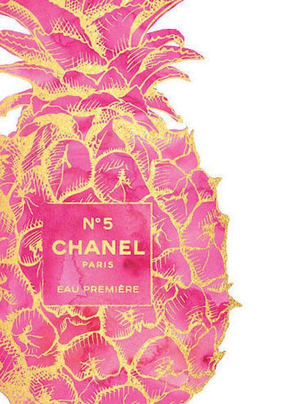 Gold & Pink Pineapple fashion Print Pineapple fashion
