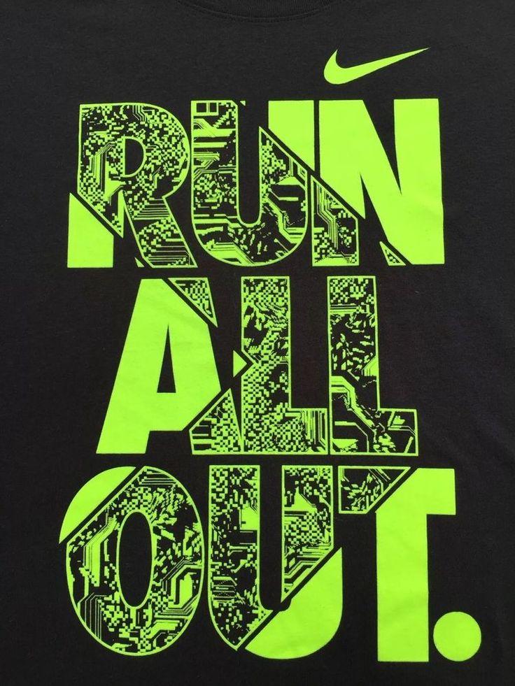 NIKE Mens Run All Out Short Sleeved Crew Neck T Shirt XL Black NEW #Nike #TShirt