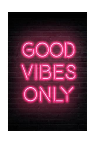 Art Print: Good Vibes Only - Pink Neon : 24x16in