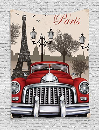1960s Decor Tapestry Wall Hanging by Ambesonne European Parisian City Scenery with Old Auto Mousque and Eiffel Silhouette ArtWork Bedroom Living Room Dorm Decor 60WX80L Inches Red Cream Grey * Read more at the image link. (Note:Amazon affiliate link) #LivingRoomDecorandAccessories
