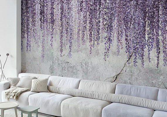 Wandbild Tapete abnehmbarer Wallpaper Aquarell Wisteria