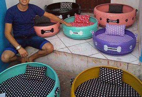 Бразилец делает из старых покрышек милые кроватки для животных, которые живут в приюте