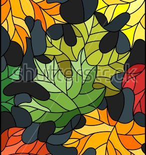Illustration in stained glass style with colorful leaves   maple trees on a dark background