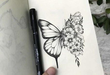 Idée tatouage homme, le plus beau tatou pour un homme moderne, papillon avec un aile fleurie et un aile ordinaire, artistique sketch de papillon pour tatouage