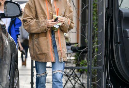 Hailey Bieber Zara ripped jeans