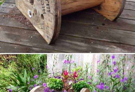 How about a wire spool planter in your garden?