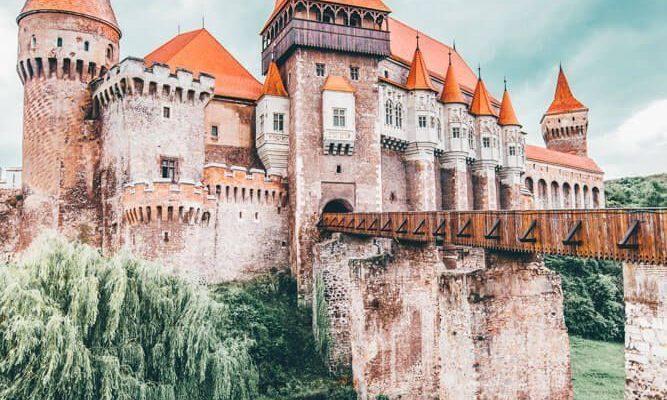 The Corvin castle in Romania is often cited as the inspiration for Bram Stoker