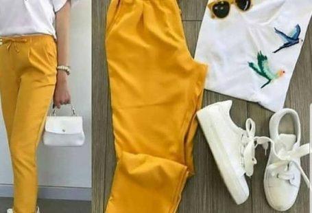 Spor Ayakkabı Kombinleri Sarı Kumaş Pantolon Beyaz Bluz Beyaz Spor Ayakkabı #moda #fashion #fashionoutfits #fashionblogger
