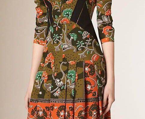 2018 Yazlık Elbise Modelleri Haki Kısa Yetim Kol Etekleri Pileli Desenli