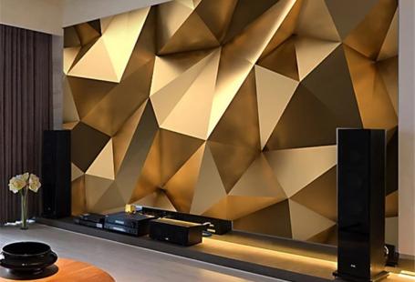 Space Golden Geometry Custom 3D Wallpaper – latippas.com