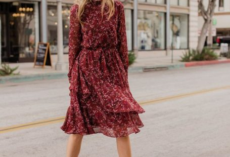 burgundy floral dress and leopard pumps