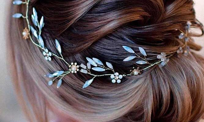 Elegant Updo With Accessory #accessoryhairtyles #lowbunhairstyles ★  Braided prom hair updos look really elegant and beautiful. We have picked the trendiest updo hairstyles for our photo gallery. Check them out. #glaminati