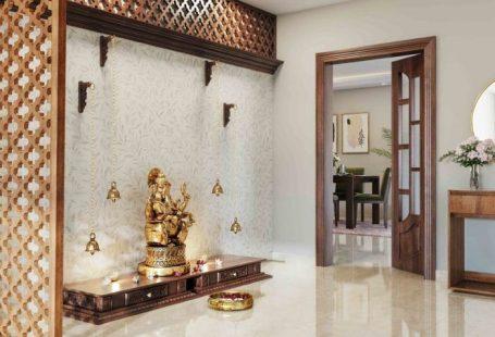 simple pooja mandir designs for walls_jaali panel_floral wallpaper_sleek pooja unit