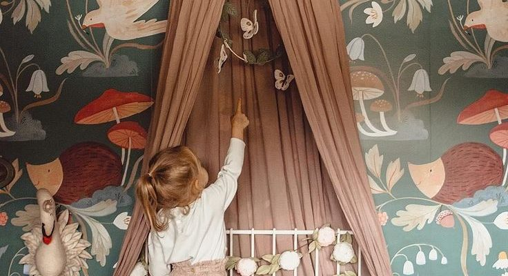 cute vintage style kids room with a canopy