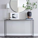 AM Dolce Vita: DIY Moroccan Wedding Blanket Tassels, Minimalist Hallway Table, Round Mirror, Modern Rustic Style, Hygge Home, Scandinavian Style Home, black metal entry table with round mirror above, lamp on entry table, modern simple console table style,