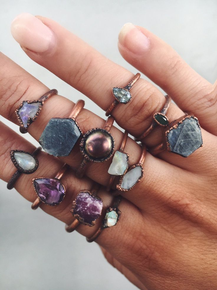 Amethyst Tear Drop and Copper Ring   Bohemian Gypsy Festival Jewellery   Indie and Harper