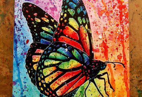 Art Print vlinder regenboog popart Splatter portret door NeverDieArt