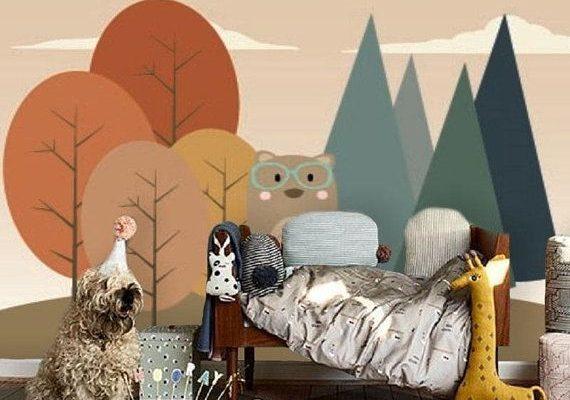 Bär im Wald, selbstklebende Tapete, abnehmbare Ta... - #abnehmbare #Bar #forests #im #selbstklebende