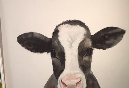 Baby Farm Animal Art Prints from Watercolor Luv are the perfect finishing touch to your modern farmhouse nursery or kids room! Add this adorable baby cow to your farm decor. Shipped or printable options and dozens of designs to choose from—all art is unique and hand painted by Emily Olson