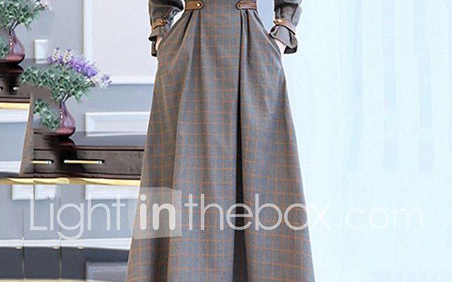 Balançoire Robe Femme Soirée Sortie simple,Damier Mosaïque Mao Maxi Manches Longues Coton Polyester Automne Hiver Taille Haute de 2017 ? $24.99