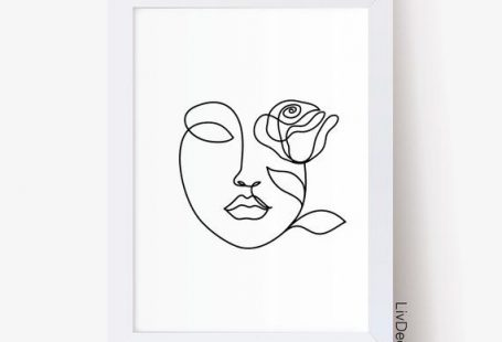 Beauty abstract woman face line drawing, fashion wall art, minimalist art, Face whith rose one line
