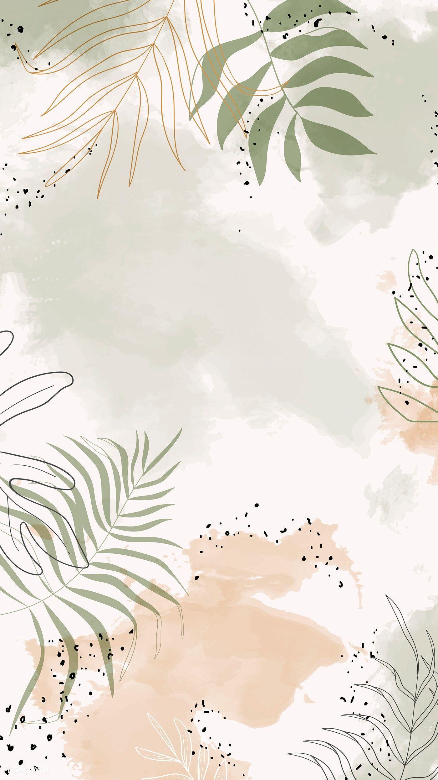 Laden Sie den erstklassigen Vektor der beigen grünen Aquarell-Handytapete herunter#aquarellhandytapete #beigen #den #der #erstklassigen #grünen