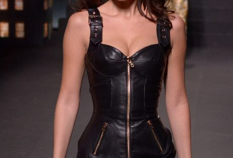 Zipped up: Bella strutted down the runway all zipped up...