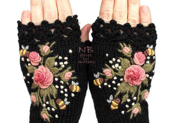 Knitted Fingerless Gloves Black Roses Rose Pastel Pink