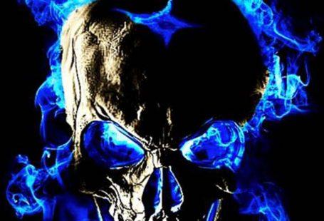 Blue flame skull fire. Coolest skull wallpaper for free. #skull #flame #fire