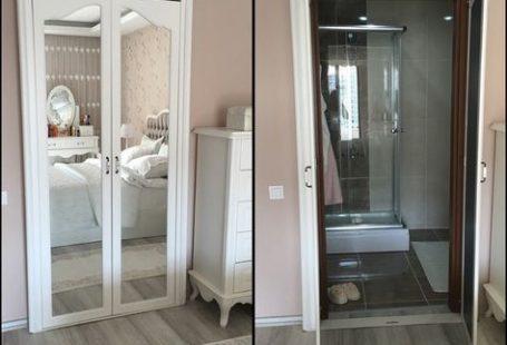 Yatak odası içinden ebeveyn banyosuna açılan kapı, country stil mobilyaların nostaljik görünümüne pek uyumlu olmayınca, bu kapıyı ortadan kaldırmaya karar vermiş ev sahibimiz. Nasıl olacak o iş mi diyorsunuz? Çok da kolay olmuş!Kapı çıkarılmış; yerine özel yapım dolap kapakları gelmiş. Bu kapakları...
