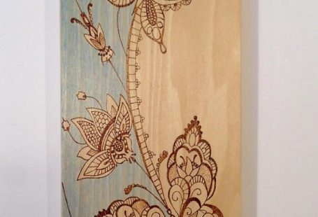Butterflies and flowers wood art wood burned art blue wash