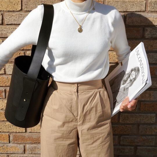 white turtleneck outfit #winter #classy #casual #ideas #work #streetst