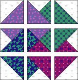 Cutting Instructions Background … Piece A – Cut two squares 4 7/8″ x 4 7/8″; sub cut diagonally to make a total of 4 half-square triangles … Piece B – Cut one square 5 1/4″ x 5 1/4″; sub cut diagonally to make 4 quarter-square triangles From each of FOUR different prints (purple, green, magenta, …