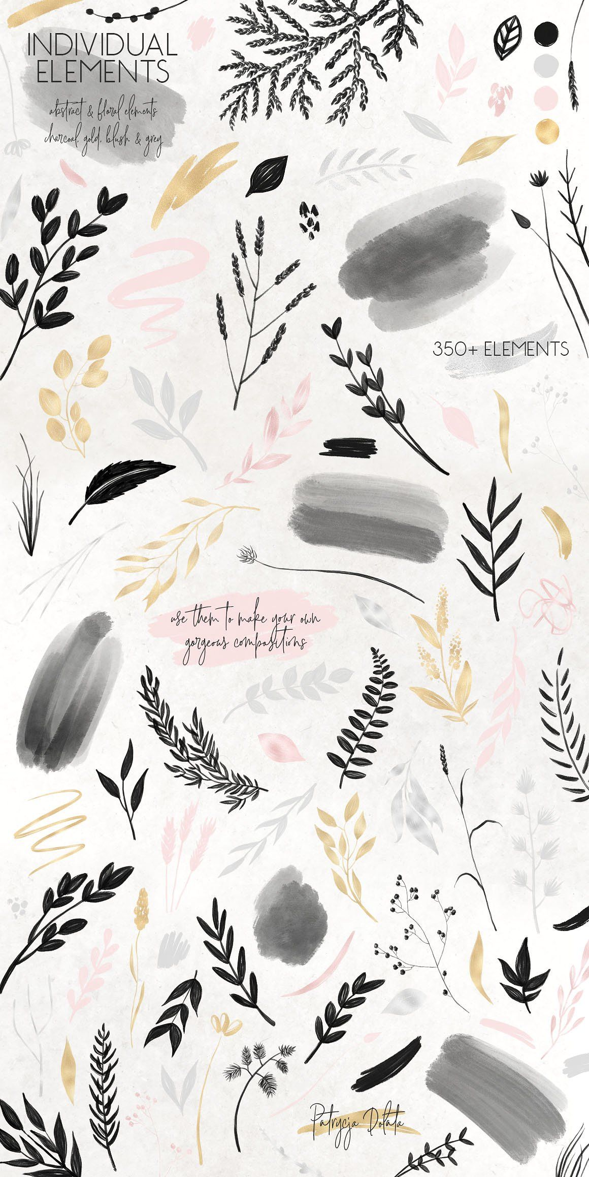 Charcoal, Gold & Blush Collection by Patrycja Dolata on Creative Market