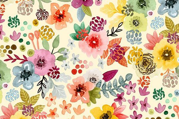 Spring Floral by Angel Gerardo - Colorful watercolor flowers on fabric, wallpaper, and gift wrap. Beautiful hand painted floral pattern with a whimsical twist.
