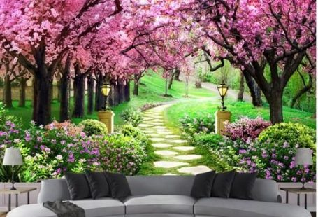 Gorgeous 3d photo print design cherry blossom trees wall mural. Pink flowers stone pathway landscape wallpaper. Free worldwide shipping.