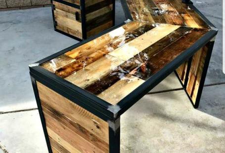 Custom reclaimed wood industrial desk